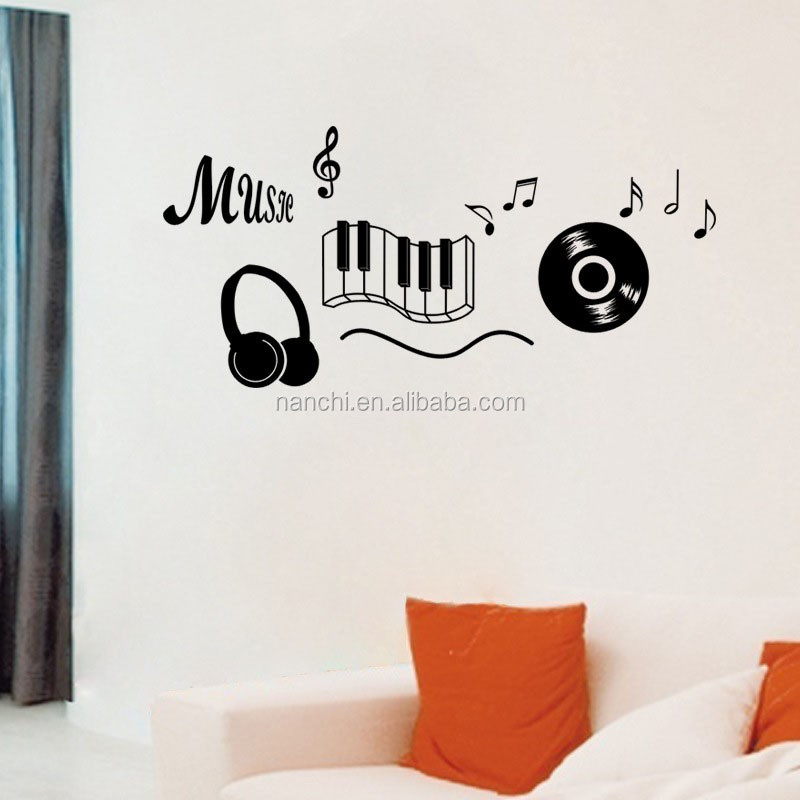 Music Headphones Wall Decals Bedroom Decor Dancing Music Note Removable  Adhesive Wall Sticker Home Decor Of The Rooms - Buy Wall Sticker,Home ...