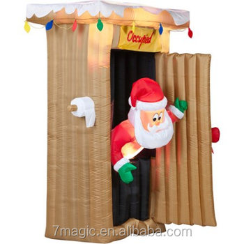 Christmas Inflatables.Gemmy Airblown Christmas Inflatables 6 Tall Animated Santa Coming Out Of Outhouse Scene Buy Giant Inflatable Santa Christmas Inflatable Christmas