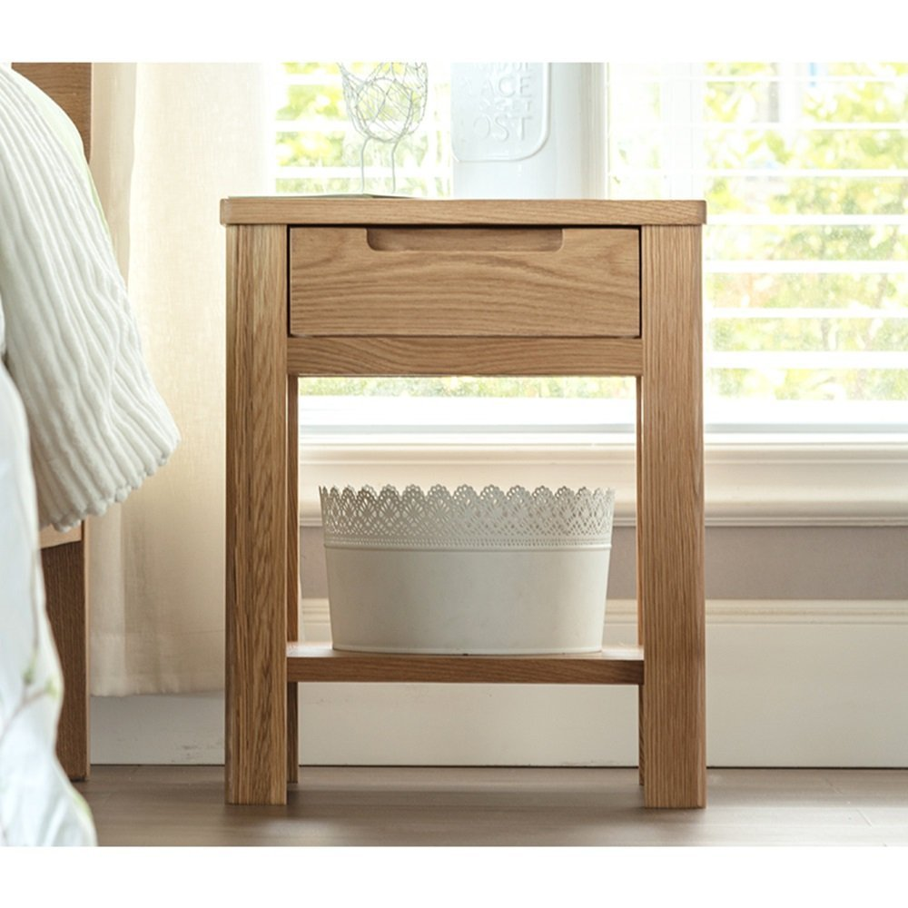 AiHerb.LT nightstand Pure Solid Wood Bedside Table White Oak Drawer Light Table Cabinet Bedroom Environmental Lockers (Color : Wood color)