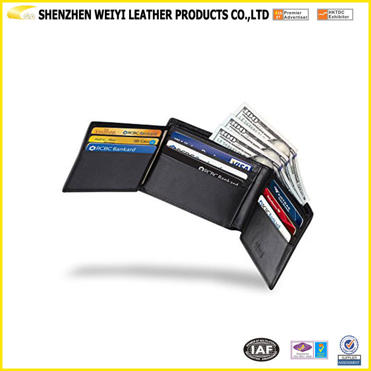 Many Pockets Slip Money Clip and Man Leather Wallet In China