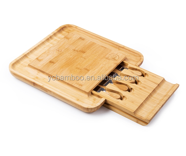 New design Bamboo cheese board set with 5 Piece Knife Tools