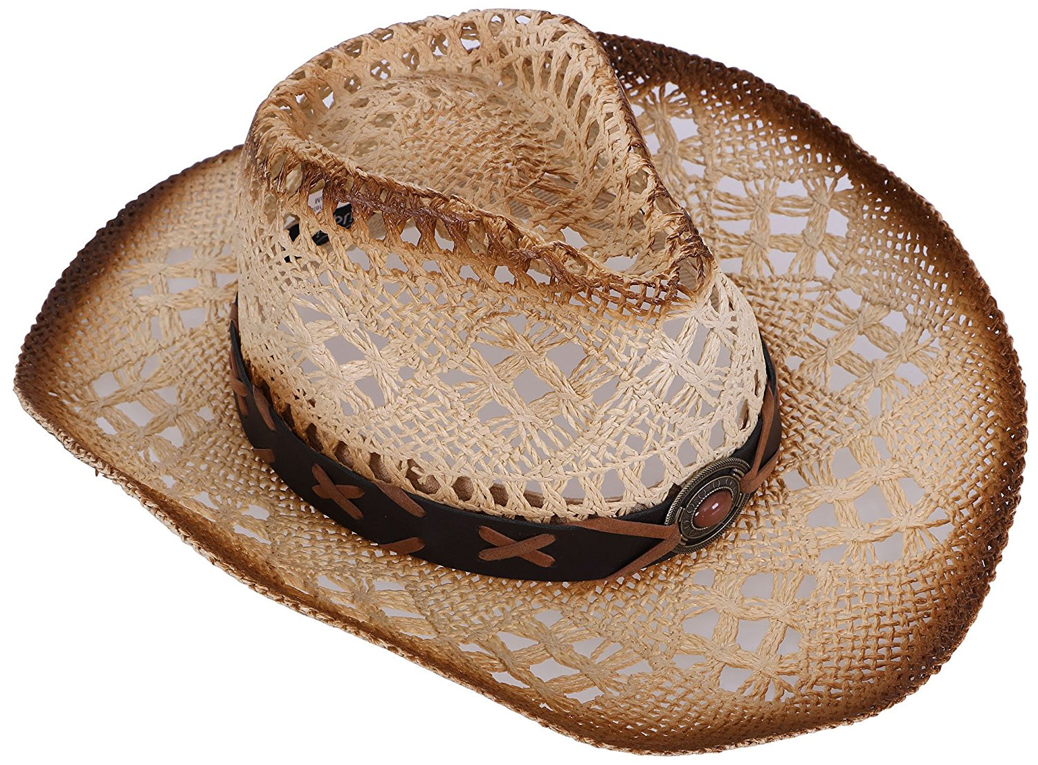 3c957b5dbe751 Get Quotations · Livingston Men   Women s Woven Straw Cowboy Hat w Hat Band  Décor