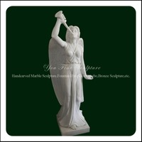 Beautiful Playing the Trumpet Sculpture White Stone Angel Garden Statue