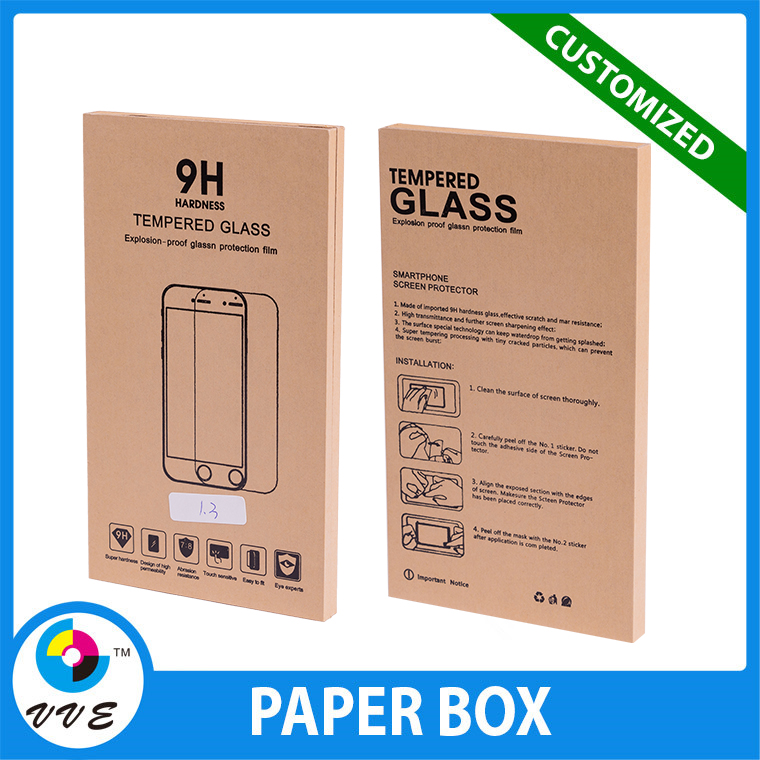 Cheap custom craft paper packaging box for glass screen protector