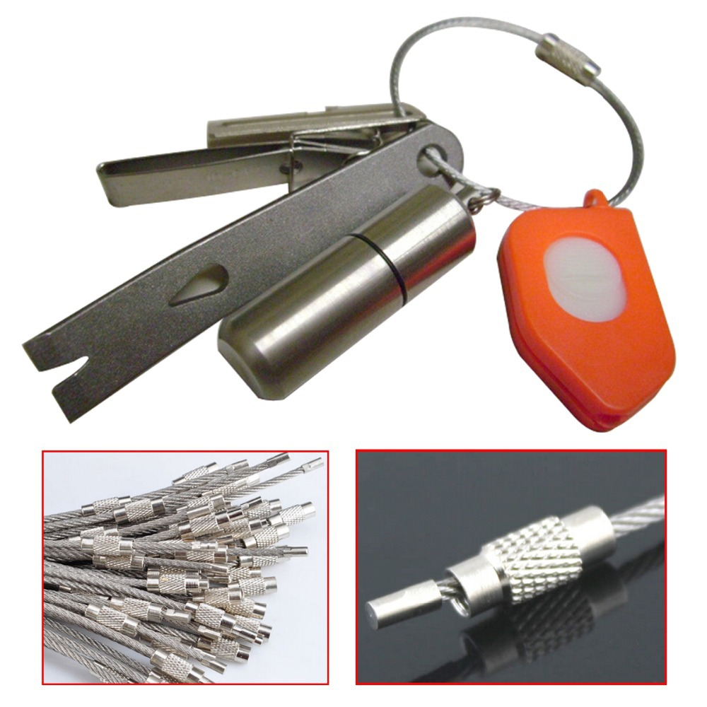 Get Quotations · Stainless Steel Wire Keychain Cable Key Ring for Outdoor  Hiking f85bb21d5
