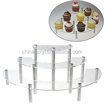 Charmant My Gift Clear Acrylic 3 Tier Half Moon Shelf Unit, Table Top Retail Display