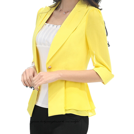 Autumn Slim Yellow Short Blazer Women 2015 Summer Fashion White Yellow Rose Chiffon Blazers And Jackets Coat Outerwear WZ04