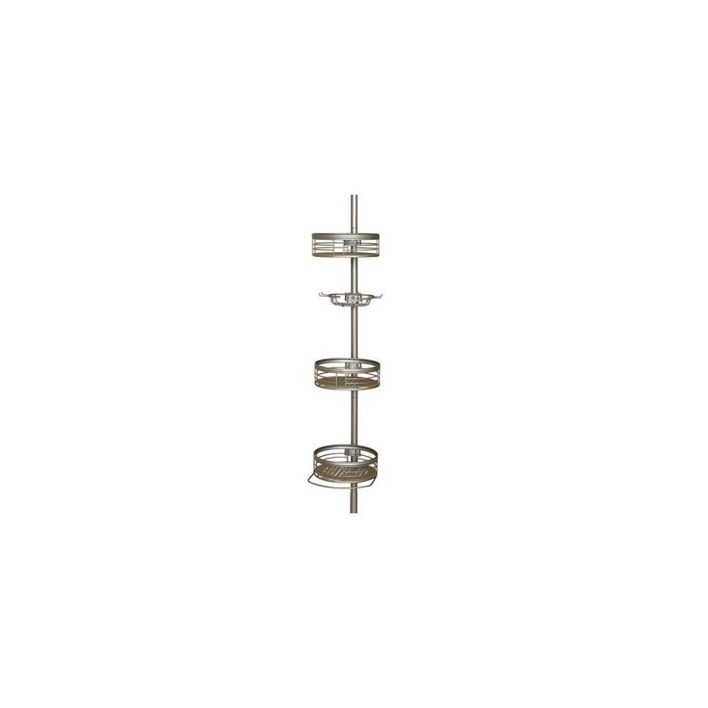 Zenith Bathroom Shower Bath Pole Caddy Satin Nickel Basket Storage Organize Rack