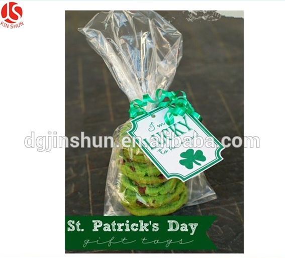 Happy Saint Patrick's Day Plastic Clear Candy cello Pouch loot bag