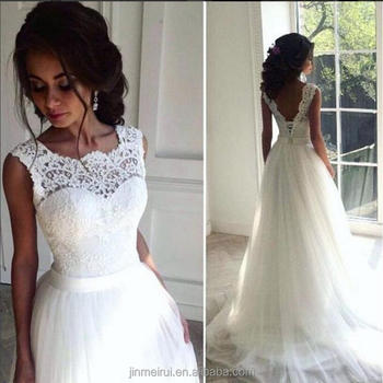 Lace Wedding Dresses Crew A-line Tulle Bridal Dresses Vintage Chic Long Wedding Gown