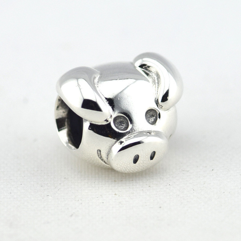 7be4e83de Get Quotations · 925 Sterling Silver Playful Pig Beads Fits Pandora  Original Charms Bracelet Metal DIY Necklace Beads Sterling