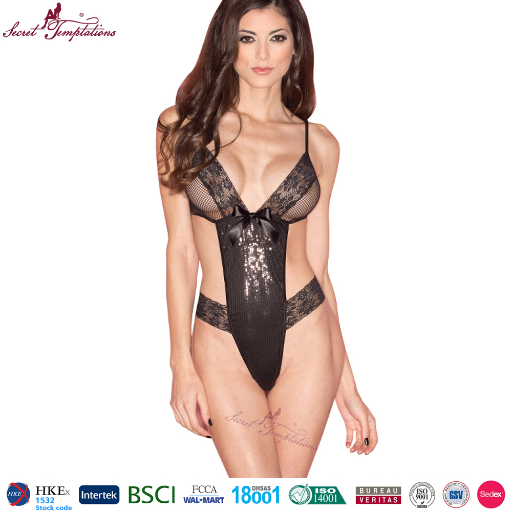Secret Temptations black lace open showing hot sexy big breast lingerie sexy babydoll transparent bodysuit woman sexy teddy