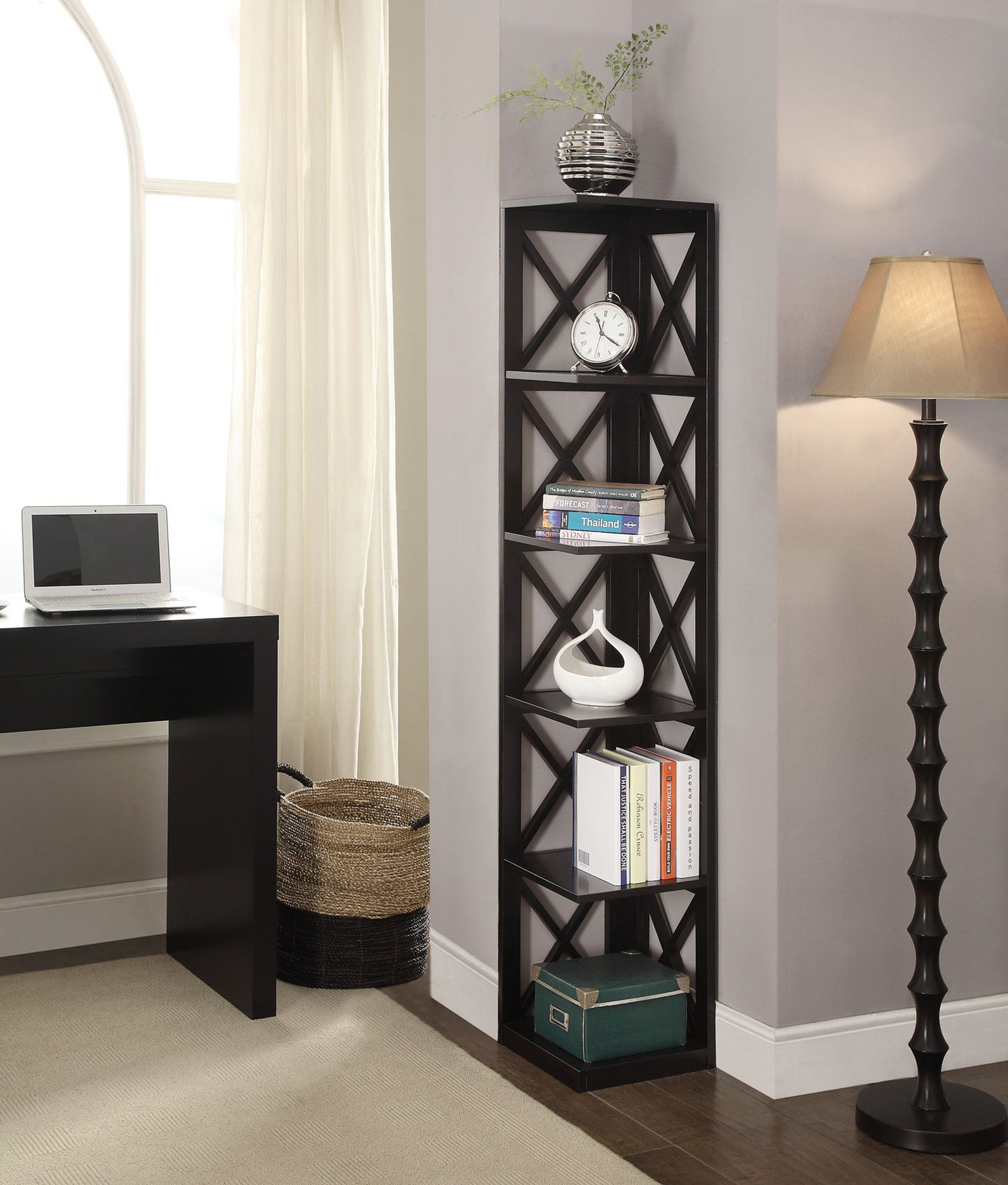 iron with view white shelf black floating ladder larger unique five corner display l bookshelf furniture tier