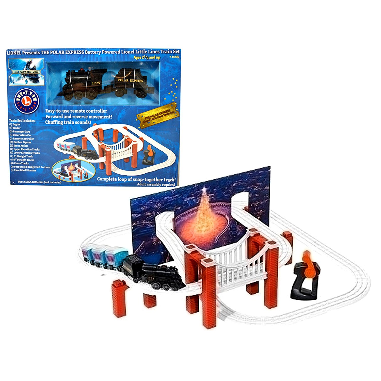 "Lionel Battery Powered Remote Control Little Lines Train Set - THE POLAR EXPRESS with Engine, Tender, 2 Passenger Cars, Observation Car, Remote Controller, 6 Caribou Figure, 9 Stone Arches, 2 Upper Elevation Tracks, 2 Lower Elevation Tracks, 2 - 3"" Straight Tracks, 8 - 9"" Straight Tracks, 8 Curve"