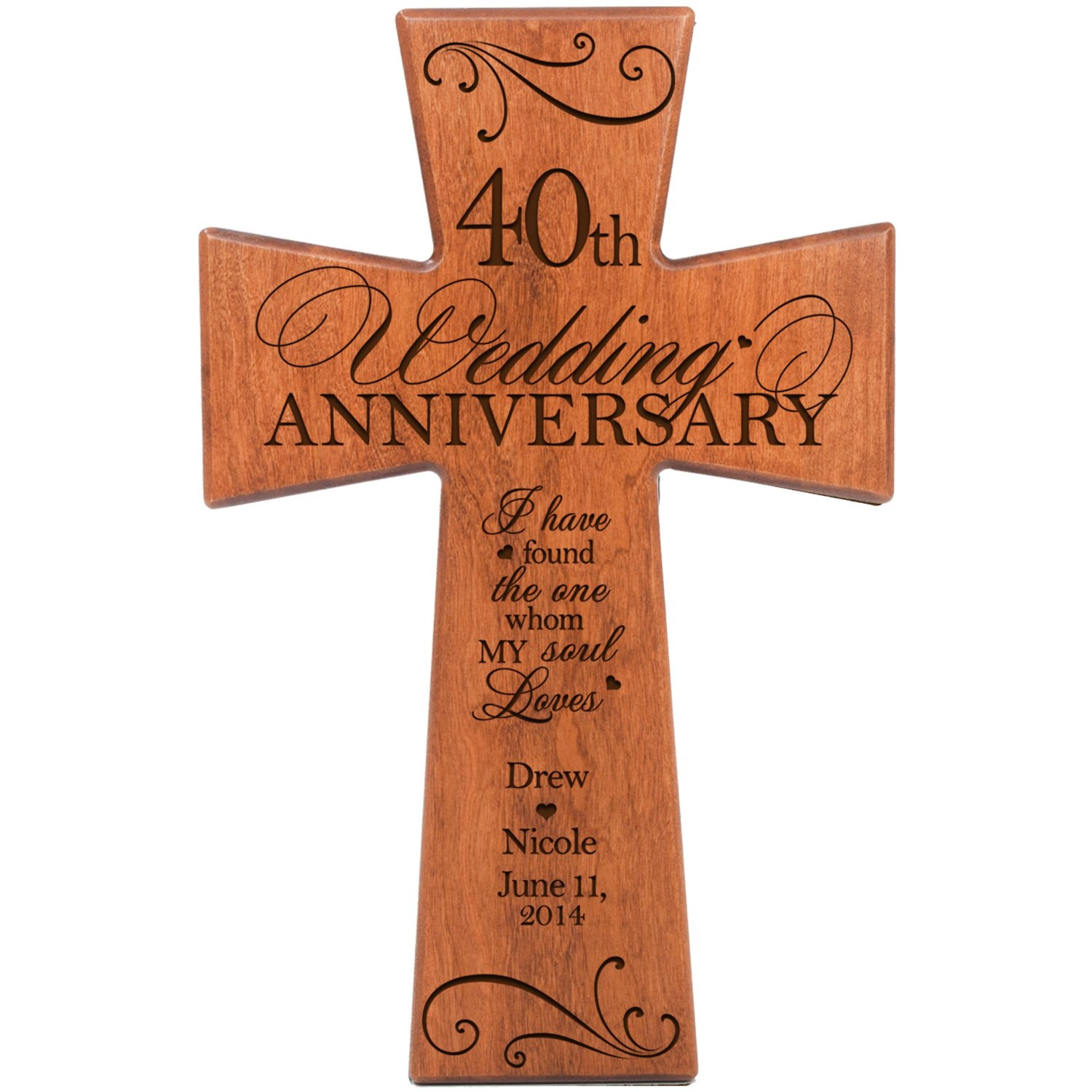 Personalized 40th Wedding Anniversary Gift for Couple Cherry Wall Cross, 40th Ruby Gifts for Her 40 year ideas for Him I Have Found the One Whom My Soul Loves by DaySpring Milestones (7x11)