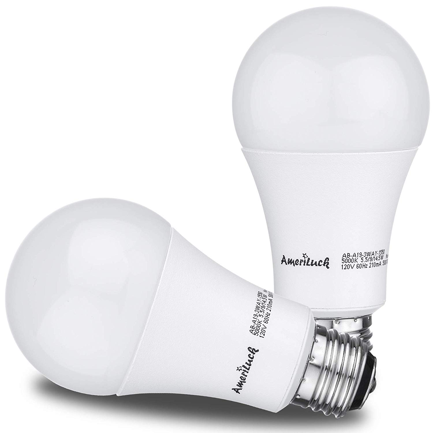 AmeriLuck Daylight LED 3-Way Light Bulb, 40-60-100W Equivalent, 500-1000-1500+Lumens, Lo-Me-Hi 5.5-9-14.5W, CRI 80+, Omni-Directional A19-UL Listed (5000K | 2 Pack)