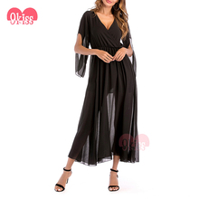 Stylish Women's Long Sleeve Casual Loose Chiffon Kimono Maxi Dress With Pocket