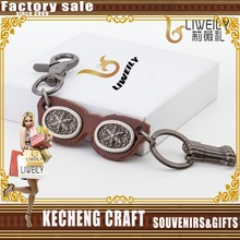 2016 New design leather attached fancy metal carabiner keyring