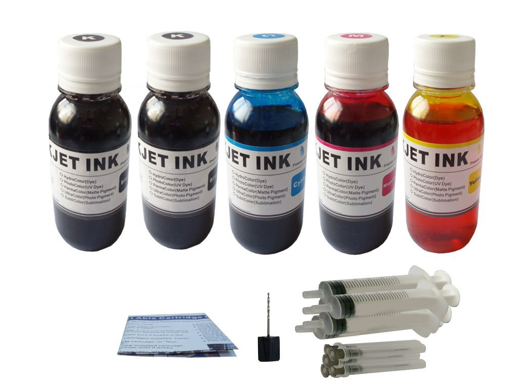 ND ™ Brand Dinsink 5X4OZ(2BK+1C+1M+1Y) refill ink kit for Canon PG-240 CL-241: PIXMA MG2120 MG3120 MG 3520 MG4120 Plus refill Syringes and Drill.The item with ND Logo!