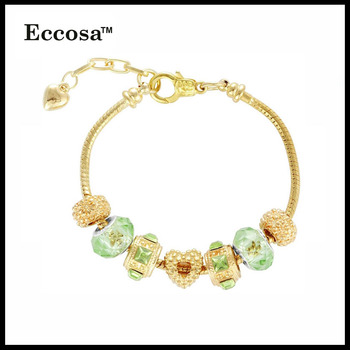 New Products 2017 Fake Gold Bracelet Charms Fit European Bead Chain Design For