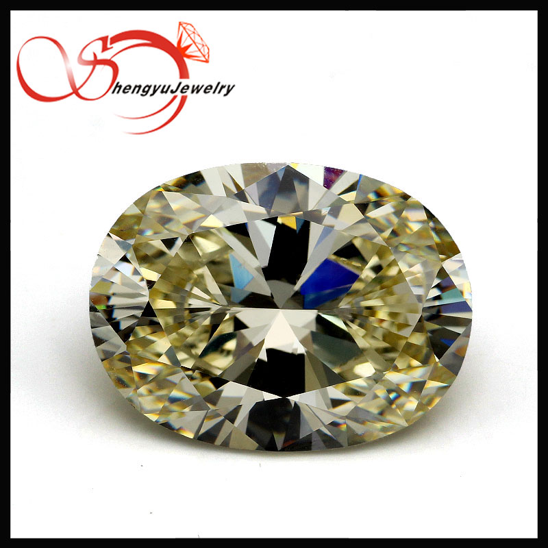 13x18mm big size oval shape light golden yellow cubic zirconia synthetic gems