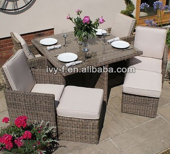 Outdoor Wicker Cube Dining Set 4 Seating With Ottoman Half Round Pe Rattan