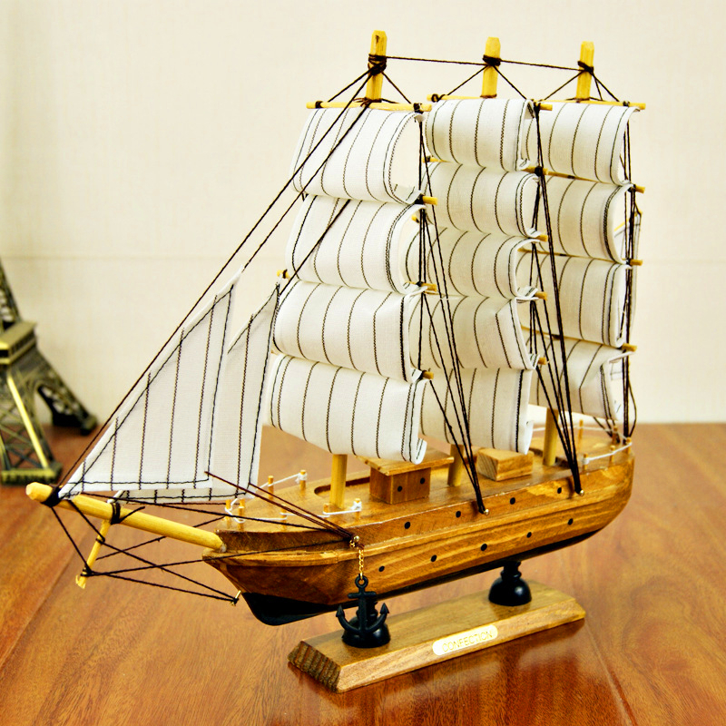 30CM Luxury Pine Ship Decorative Model Wooden Crafts Super High-Grade Large Wooden Europe Boat Crafts Gift for Home Decoration