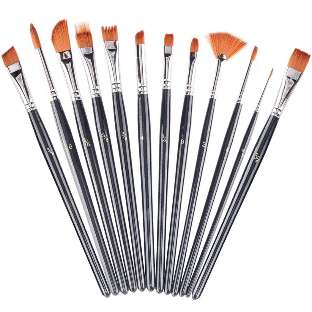 Xubox Paint Brushes Set, 12 Pieces Fine Paintbrush Round Pointed Tip Nylon Hair Artist Craft Acrylic Paint Brushes for Acrylic Oil Watercolor, Face Nail Art, Miniature Detailing & Rock Painting, Black