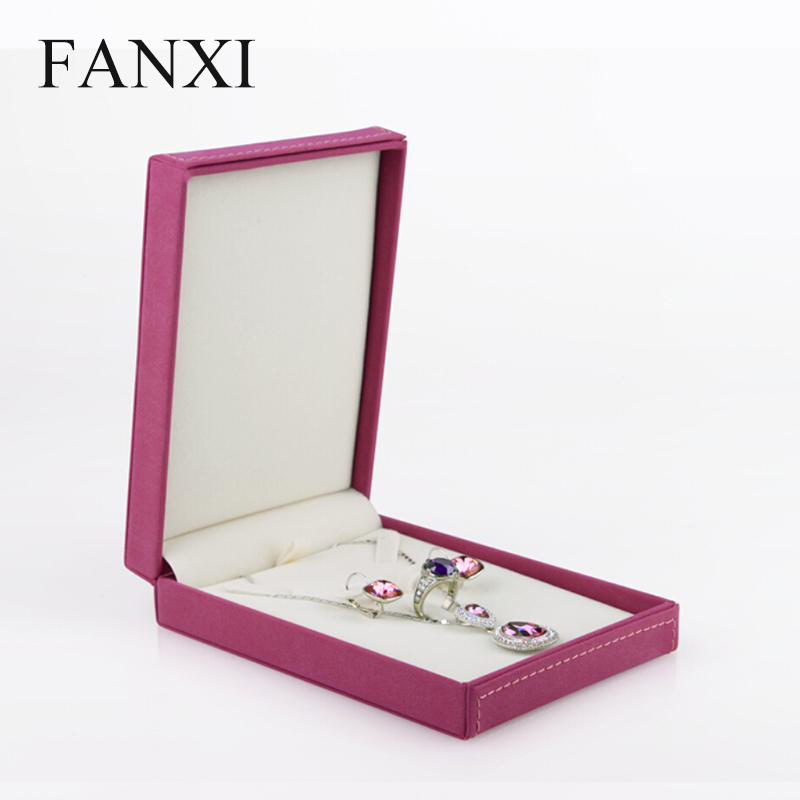FANXI China Manufacturer Delicate Pink Leather Ring Earrings Necklace Jewelry Display Set Storage Packaging Box