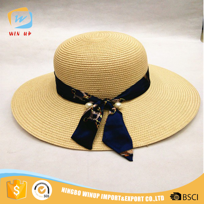 Winup 2016 Hot selling lady wide brim floppy beach hat with ribbon decoration
