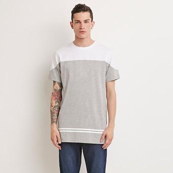 Bottom Hem Varsity Stripe Tee,Mens Colorblocked Printed T Shirt ...