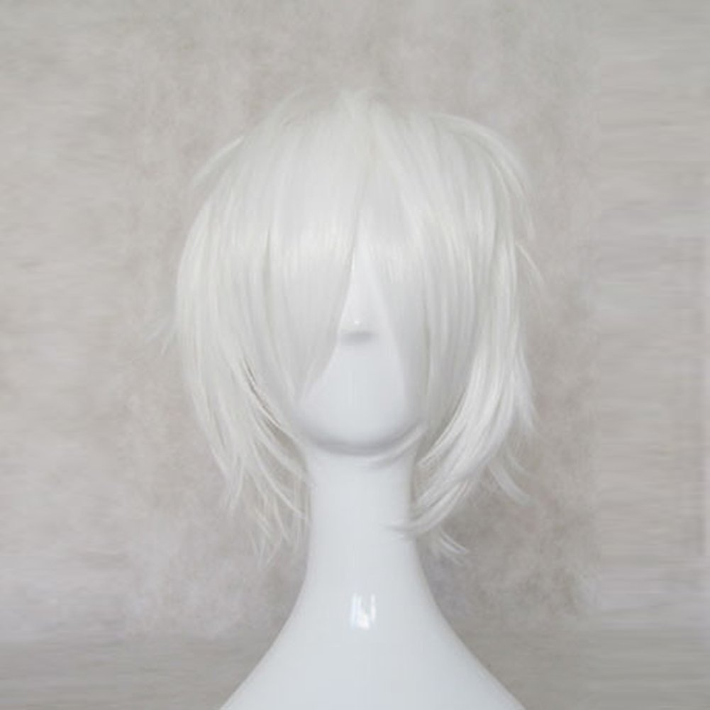 29ce1399419 Get Quotations · DEATH NOTE NEAR White Short Cosplay Wig + Free Wig Cap