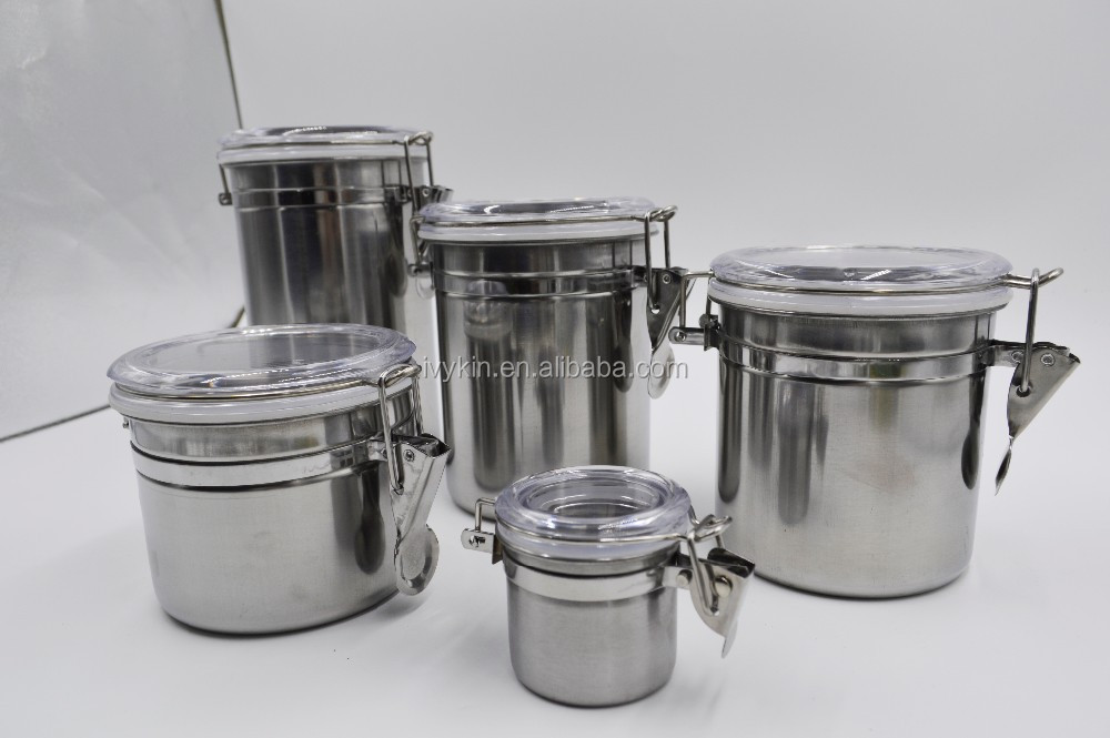 Stainless Steel Canister Set Tea Coffee Sugar Cannister Jar Kitchen Jars Product On
