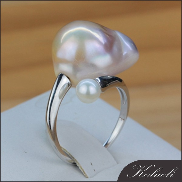 Hot sale 15mm baroque pearl 925 cleaning silver ring