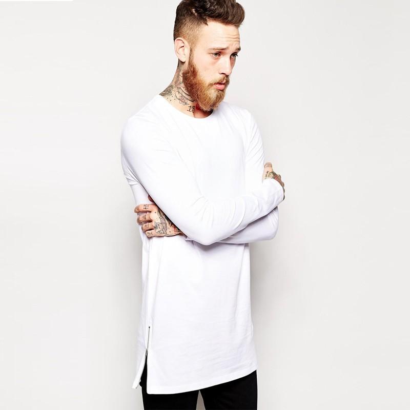 159bb20878085 2016 nueva camiseta Hiphop de la llegada camiseta larga de la camiseta de  la manga camiseta lateral de la cremallera Camisa de gran tamaño de la  camisa del ...
