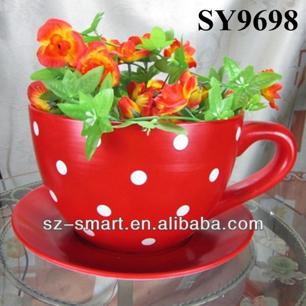 Ceramic Flower Cup And Saucer Planter Buy Flower Cup And Saucer