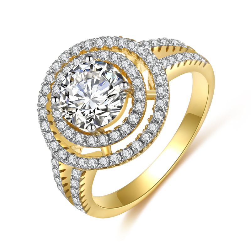 <strong>Silver</strong> and Gold Filled Fashionable Design of Vantage Wedding Ring