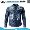 2015 new style Men's long sleeve dress print denim shirt