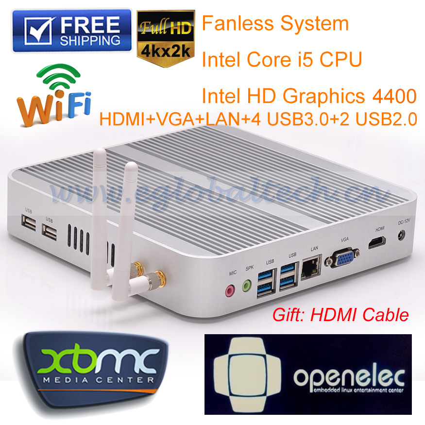 Smallest Fanless PC Intel Celeron V7-4200U Quad Core Mini PC Office Net Computer Dual USB Port barebone system