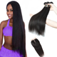 Lsy Malaysian Straight Hair Weave Bundles 100% Virgin Human Hair Extension, Natural Color 3 Bundles With Middle Part Closure
