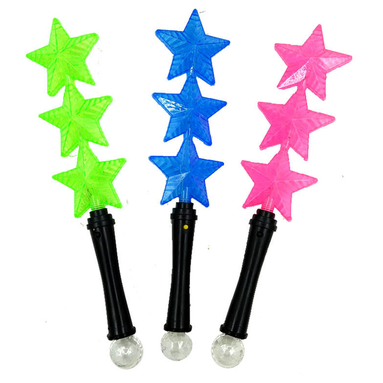 Großhandel Blinkende Licht up fünfzackigen Stern Glow Stick LED Rave Baton Party Favor Zauberstab