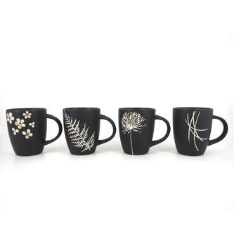 Promotional Bulk Ceramic Mugs Decal Printed Matt Black Color Coffee