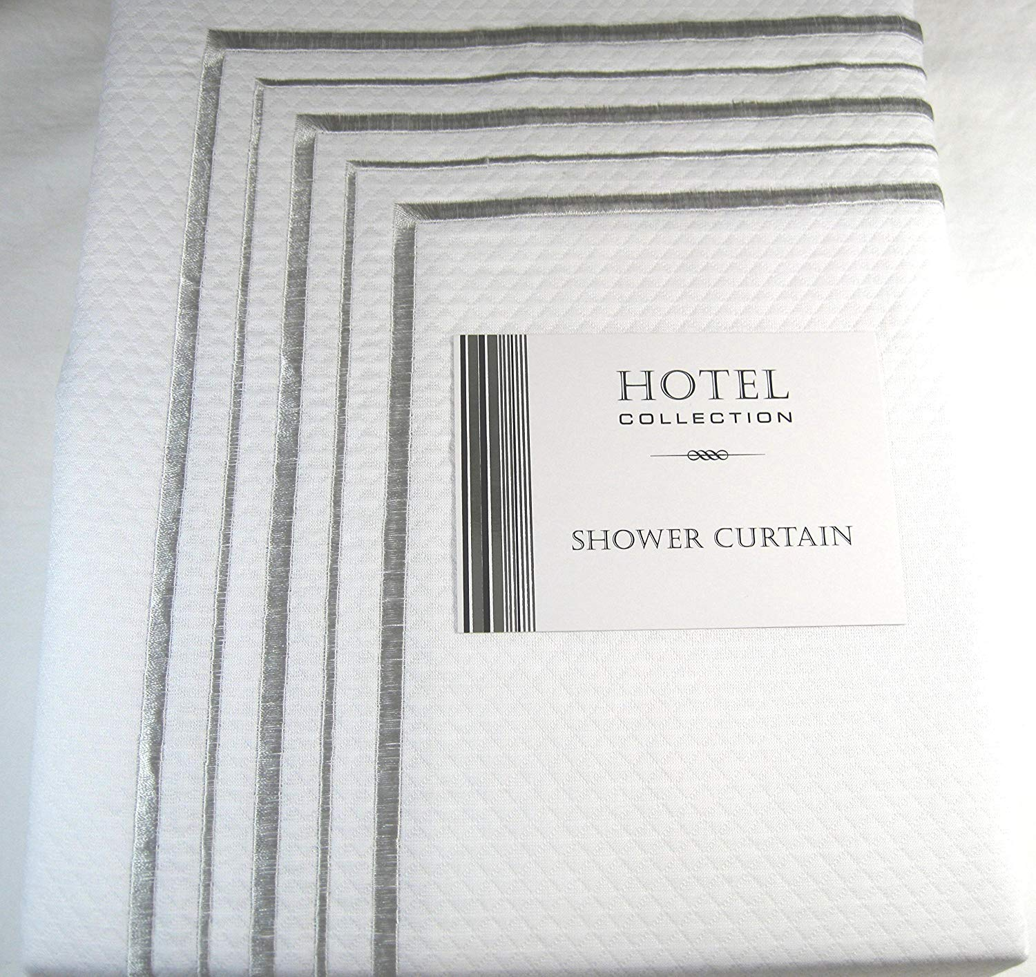 Hotel Collection Premium Quality Fabric Shower Curtain White And Silver Border 72