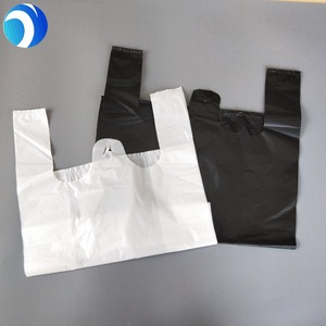 HDPE LDPE black and white Customized design printed supermarket shopping Plastic T-shirt carry bag