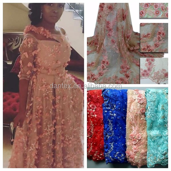 2017 3d african lace fabrics with beads tulle lace for wedding party 3800