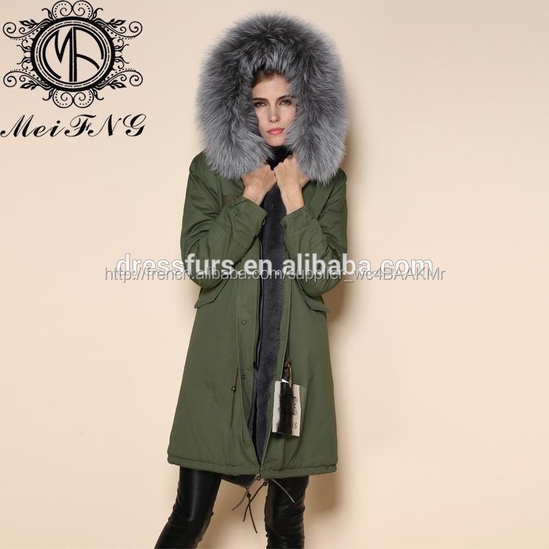 Manteau fourrure renard gris