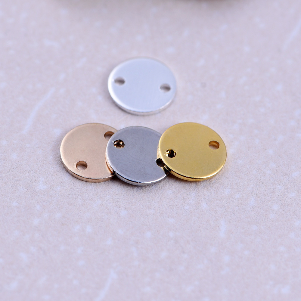 Wholesale DIY Brass Accessories Blanks Tags Smooth Round Pendants <strong>Charms</strong> for Jewelry Making Component Findings