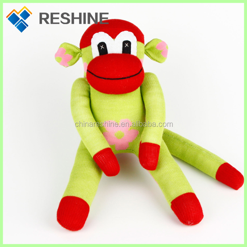 Colorful sock monkey doll stuffed plush animals toys for children promotion soft for wholesale toy monkey plush toy