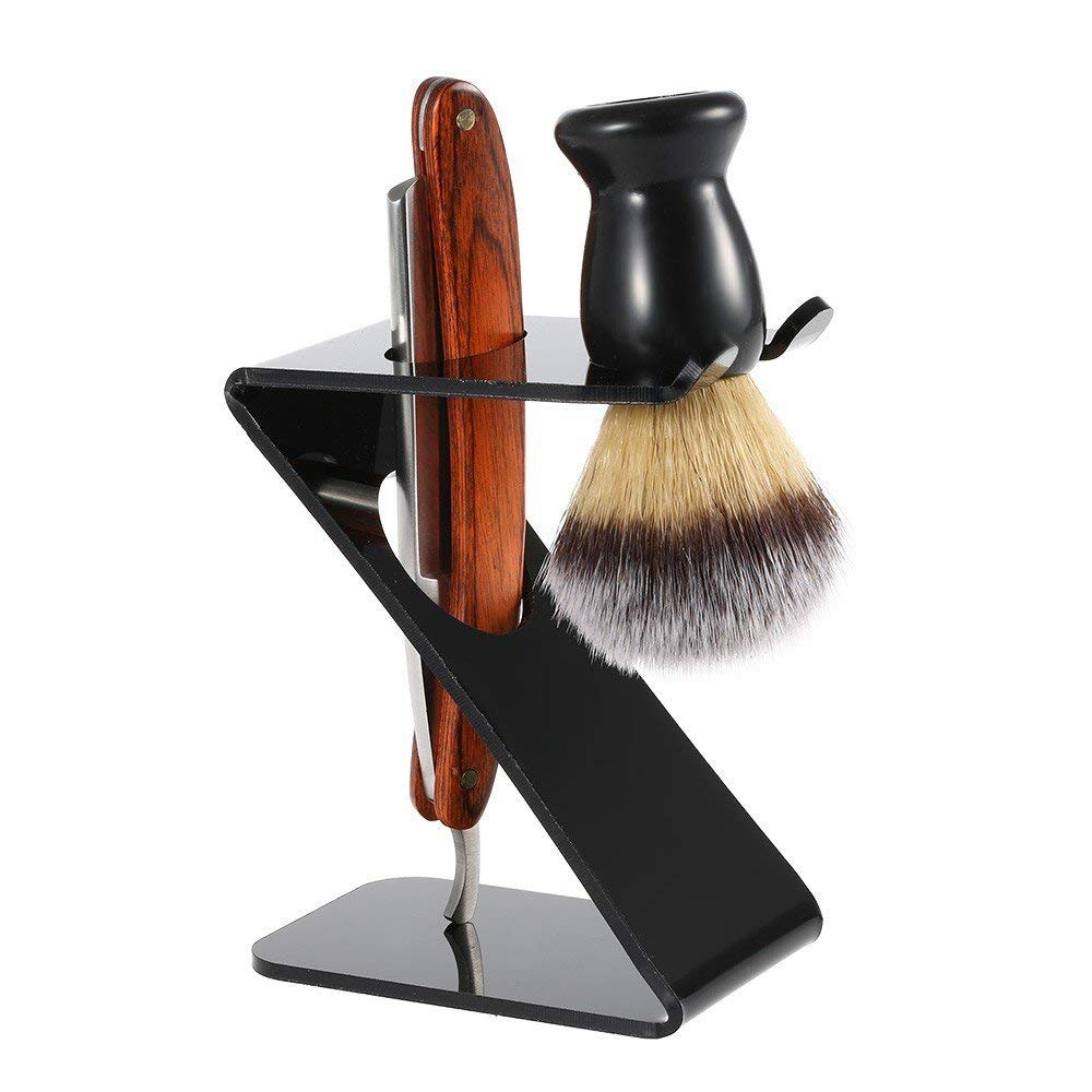 SMITH CHU Professional Straight Edge Razor Set - Straight Razor,100% Badger Shaving Brush,Shaving Holder Stand - Close Shaving Men's Manual Shaver Safety