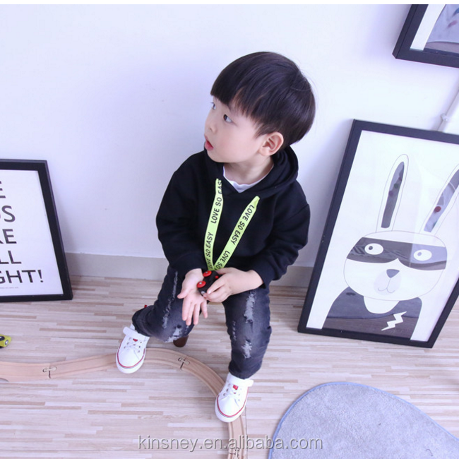 KS10254B Wholesale boys fashion black jeans warm winter fleece lined jeans